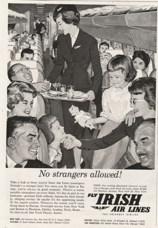 1960 Aer Lingus Irish Airlines stewardess art No Strangers Allowed Vintage Ad