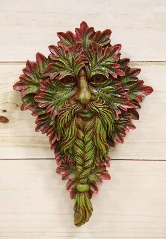 """Nature Spirit God Celtic Myrtle Greenman Hanging Wall Decor Plaque 8.5"""" H"""