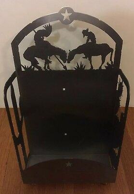 Cowboys Indians Magazine Rack Holder Display Stand Heavyweight Metal Western