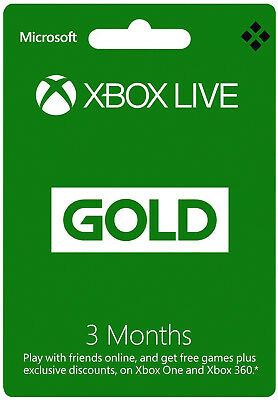 3 Month Xbox Live Gold Membership   Microsoft Xbox 360 One Subscription   Us Ca