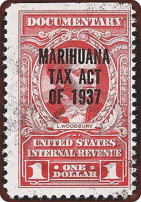 1937 Marijuana Tax Act Stamp Vintage Look Reproduction Metal Sign 8 x 12 USA Stamp Metal Sign