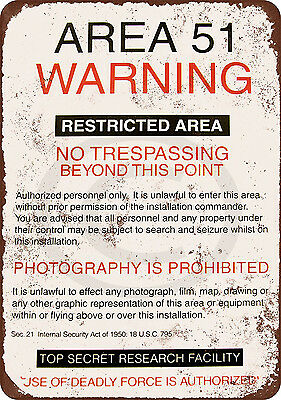 Area 51 Warning Vintage Reproduction 8 X 12 Metal Tin Sign