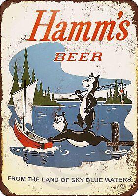 "1956 Hamm's Beer Bears Fishing Rustic Retro Metal Sign 8"" x 12"""