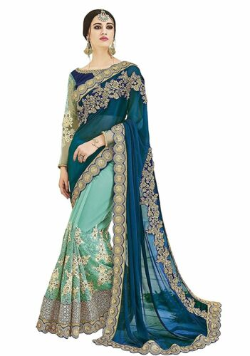 Saree Sari Indian Wedding New traditional Designer Party Wear Saree Blouse1047