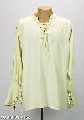 Pirate Shirt Men's Ecru Rayon Laced Front Mandarin Collar Period Costume Shirt (Mens Period Costumes)