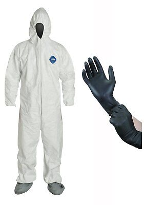 DuPont Disposable White Tyvek TY122 Coverall Suit with Protective Gloves ()