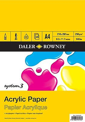 Daler Rowney System 3 Acrylic Art Painting Paper Pad with 20 Sheets A4