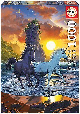 Unicornios en la Playa, Educa 19025, Puzle 1000 piezas, pieces, arte, color, fantasia