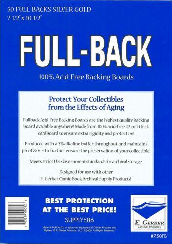 50 E. Gerber Full Back SILVER GOLD SIZE 42pt Acid Free Backing Boards 750FB