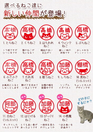 Japanese KANJI HANKO Stamp with built-in ink for Your Name With Cat Picture