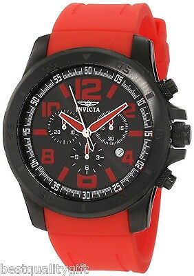 NEW-INVICTA SPECIALTY RED RUBBER BAND+BLACK TONE DIAL+CHRONO,DATE,WATCH 1921+BOX ()