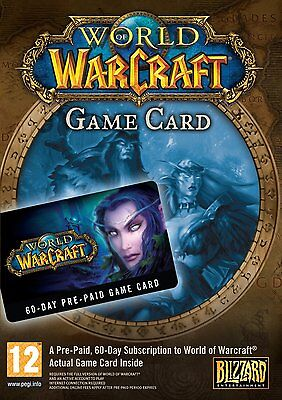 World of Warcraft 60 Day Pre-paid Gamecard Game Time Timecard US
