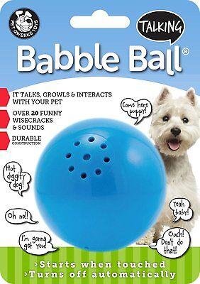 PETQWERKS MEDIUM BLUE TALKING BABBLE BALL DOG TOY. FREE SHIPPING TO THE USA