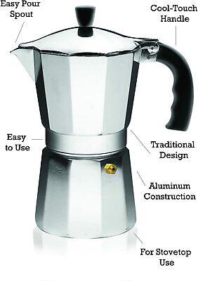 IMUSA - Aluminum Espresso Stovetop Coffeemaker B120-43V Silver 6cup