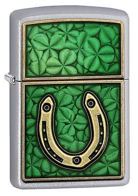 Zippo Satin Chrome Horseshoe & Clover Windproof Lighter + Velvet Hinged Gift Box