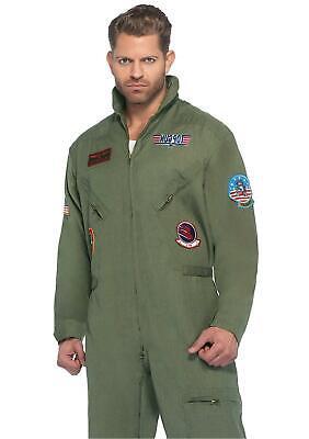 Leg Avenue Men's Top Gun Flight Suit Costume, Khaki/Green, Size Small / Medium E