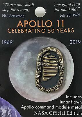 Nasa Apollo 11 Foot Prints 50th Anniversary Lapel Pin Contains Flown Metal