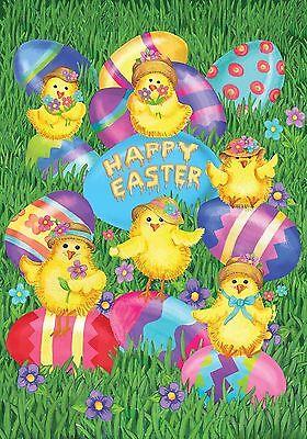 "Happy Easter Chicks Garden Flag Holiday Briarwood Lane 12.5"" x 18"""