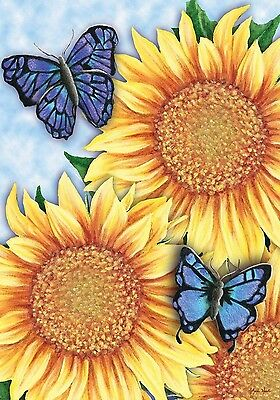 "Sunflower Trio Summer House Flag Butterflies Floral 28"" x 40"""
