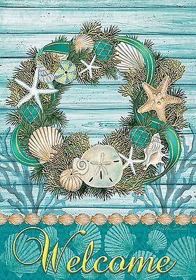 "Coastal Wreath Summer Garden Flag Welcome Nautical Shells 12.5"" x 18"""