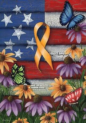 "Home of the Free Yellow Ribbon Garden Flag Patriotic Troops Floral 12.5"" x 18"""