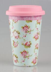 Vintage-Floral-Design-Ceramic-Double-Walled-Travel-Mug-in-Martha-Rose-Print-NEW
