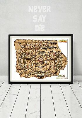 The Goonies Pirate Treasure Map Chunk Sloth  Truffle Shuffle Gift Art Movie Prop