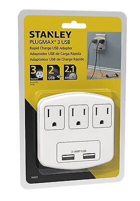Stanley 30407 PlugMax 3-Outlet & 2 USB Port 2.1A Rapid Charge White Wall Adapter