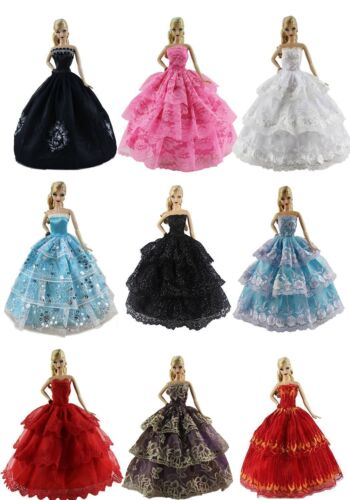 6pcs/Lot Barbie Doll Fashion Princess Dresses Outfits Party Wedding Clothes