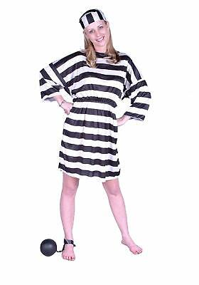 Women's Convict Lady Prisoner Jail Bird Costume One Size Fits Most