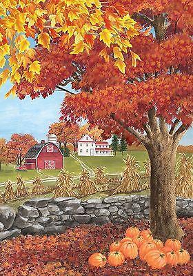 #139 AUTUMN DAY FALL PUMPKIN FARM LEAVES HOUSE FLAG 28X40 BANNER  - Pumpkin Banner