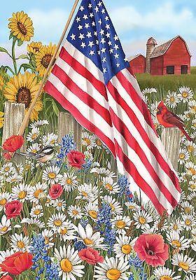 "FM85 PATRIOTIC AMERICA THE BEAUTIFUL FLOWERS SUMMER  12""x18"" GARDEN FLAG BANNER"