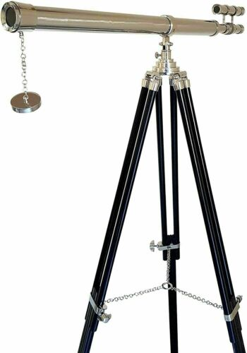 """Antique vintage maritime brass 38"""" spyglass telescope with tripod shiny stand"""