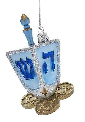 Noble Gems Hanukkah 4.5 Inch Dreidel & Coins Glass Ornament - Hanukkah Ornaments