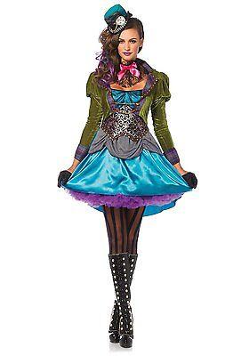 Leg Avenue Deluxe Mad Hatter Adult Wonderland Womens Halloween Costume - Leg Avenue Mad Hatter Kostüm
