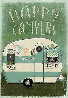 """Happy Campers Summer Garden Flag RV Camping Outdoors 12.5"""" x 18"""" Briarwood Lane"""