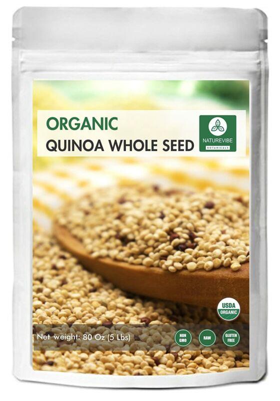 Organic Quinoa 5 lb Whole Grain Seed Bulk Raw Pre-Washed, Gluten-Free, Non-GMO