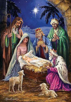 #113 NATIVITY RELIGIOUS JESUS CHRISTMAS WISEMEN  LARGE HOUSE FLAG 28X40 BANNER