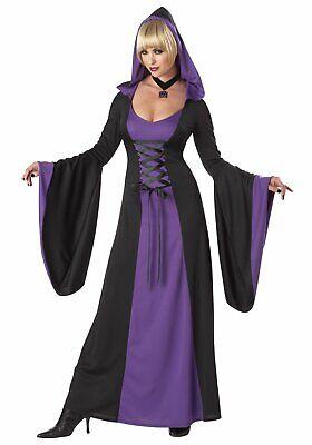 Gothic Hooded Robe Costume Dress Womens Black Purple Vampiress Witch XS 4-6 (Purple Hooded Robe Kostüm)