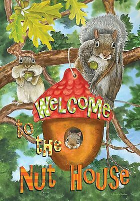 "Welcome to the Nut House Summer Garden Flag Humor Squirrels Tree House 12.5""x18"""