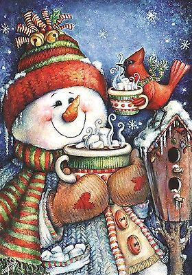 Warm Wishes Snowman Garden Flag Christmas Winter Hot Cocoa Seasonal Yard Banner