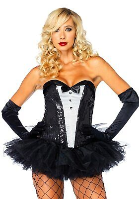 Sequin Tuxedo Corset Playboy Bunny Halloween Sexy Adult Costume Accessory