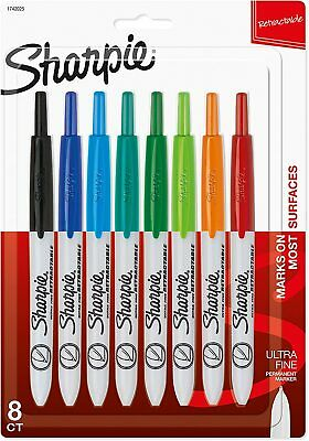 Sharpie Retractable Permanent Markers Ultra Fine Point Assorted Colors 8 Count