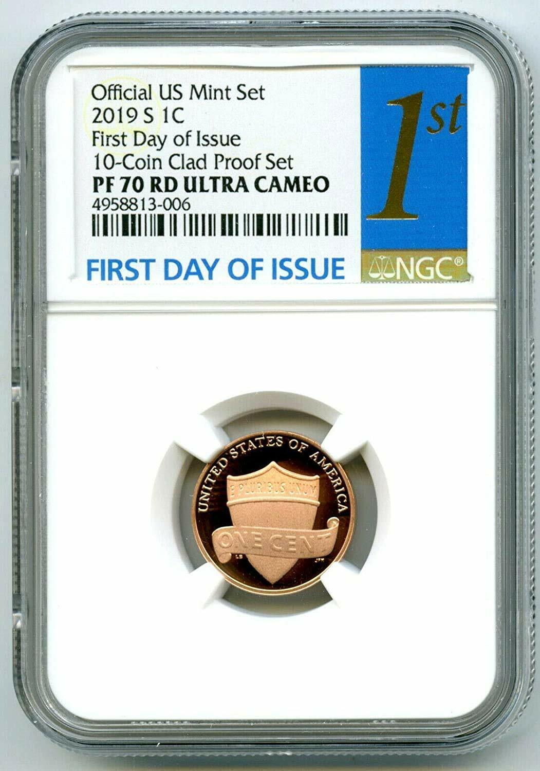 2019 S LINCOLN PENNY NGC PF70 RD UCAM FIRST DAY ISSUE PROOF CENT 1ST BLUE LABEL - $14.50