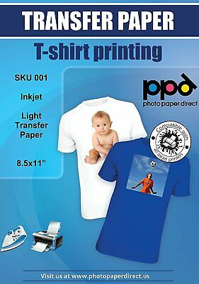 Ppd Inkjet Iron-on Light Color T Shirt Transfers Paper 8.5x11 X 20 Ppd001-20