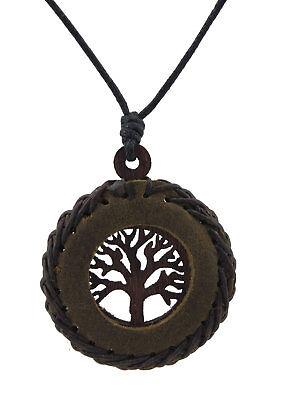 Halskette Baum Leben-Celtic-Leder Braun-Holz Schmuckstück Ethnisch Billig Bb