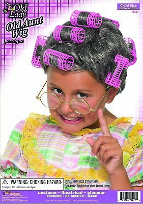 Old Lady Costume For Child (Old Lady Aunt Gertie Rollers Child Girls Hair Wig for Halloween)