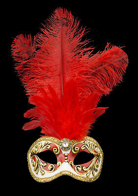 Mask Venice Colombine to Ostrich Feathers Red Dore-Mask Venetian 514 V26