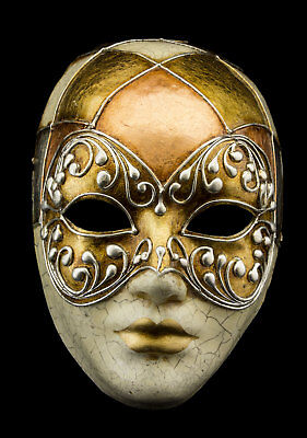 Mask from Venice Face Volto Golden Silver Crackle Copper Paper Mache 22363