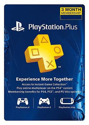 Sony PlayStation Plus 3 Month Membership Subscription Card (USA Region)